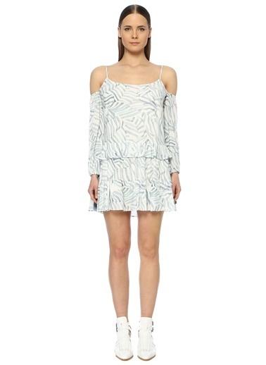 NetWork Kadın 1072921 Basic Fit Desenli Mini Elbise Mavi